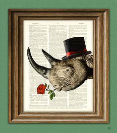 Rhino Art Print Care to Tango Rhinoceros with Rose by collageOrama, $7.99