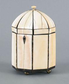 English ivory and tortoise shell tea caddy, ca. 1800