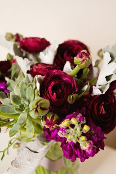 purple and gray wedding flowers http://sophisticatedfloral.com/