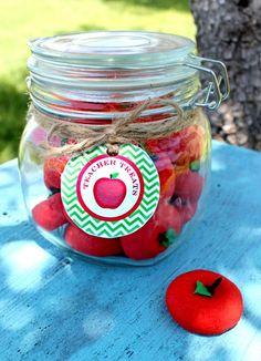 Apple cookies in a jar.  Too cute!