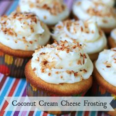 Coconut Cream Cheese Frosting - SO delicious, everyone was asking for the recipe! Enough for 24 cupcakes. Tastes amazing on key lime or chocolate cupcakes!
