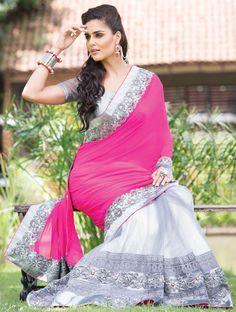 Sensational Silver and Rani Pink Saree