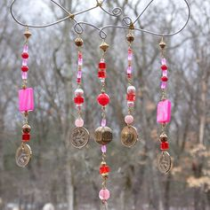 Red Pink and Gold Wire Wrap Coin Charms Windchime (wind chime )  Home and Garden Decor Yard Art Whimsy