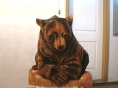 Pine- Bear mantel piece