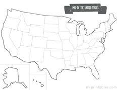 printable blank map of US