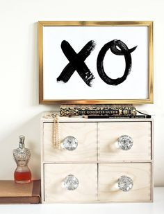 Typographic Print - Hand Lettering - XO -  Hugs & Kisses  - Love Quote - Black and White - Romantic