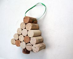 Wine Cork Christmas Tree Ornament  natural oak by TheWoodenBee