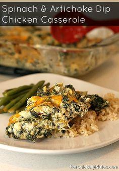 Spinach & Artichoke Dip Chicken Casserole   Persnickety Plates