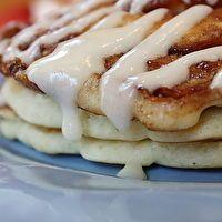 Cinnomon Roll Pancakes by RecipieGirl.com