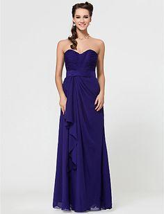 Sheath/Column Sweetheart Floor-length Chiffon Bridesmaid Dress With Cascading Ruffles - USD $ 97.99