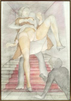 Erotic drawing by Pierre Klossowski. 'Roberte et les collégiens V (vision du Professeur Octave)', 1974, Collection André Goeminne, Nazareth.