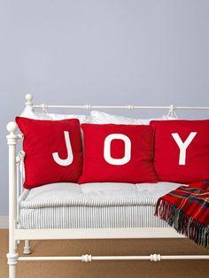 "How to make ""joy""-ful pillows. #DIY #holiday #decorating"