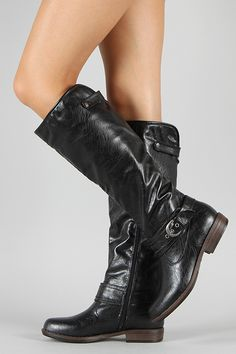 Bamboo Montage-08 Riding Buckle Knee High Boot :: $41.50