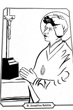 Saint Josephine Bakhita Catholic coloring page Feast Day is February 8th.