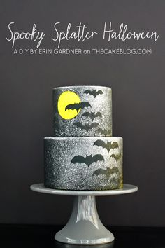 {super easy and no special tools needed!}  Spooky Splatter Halloween Cake  |  A DIY by Erin Gardner  |  TheCakeBlog.com