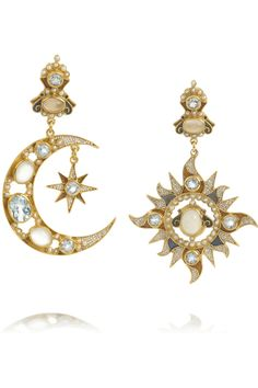 Percossi Papi|Sun and Moon gold-plated multi-stone earrings|NET-A-PORTER.COM