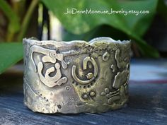 Big torched up cuff - rustic metalsmith cuff in sterling silver with touches of 14karat gold by JoDeneMoneuseJewelry