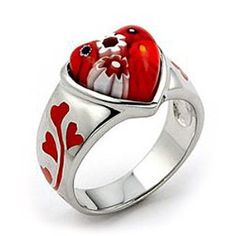 Red Murano glass millefiori ring