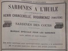 Douarnenez. Publicité Henri Chancerelle, sardines à l'huile. 1882.