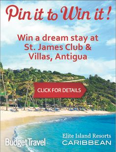 Win a dream stay at St. James Club & Villas, Antigua! Enter your email and you can pin it to win it for another entry! Click for details!