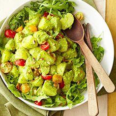Arugula Pesto Potato Salad - Pesto made with arugula leaves gives this salad a pleasant peppery bite.