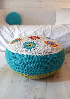 Pouffe Handmade Crochet Cotton with Hexagons Size: 21.5inch x 11inch height. Can be purchased stuffed or stuffed. Stuffed pouffe price is approx. £61.16 #pouffe #crochet #home