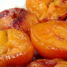 Buttery Brown Sugar Roasted Peaches – less than 100 calories for a dessert that tastes like soft candy.