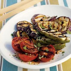 Grilled Eggplant, Tomatoes, and Zucchini