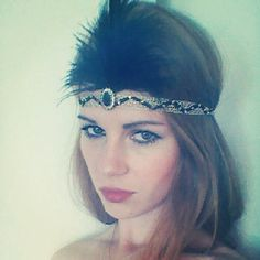 Gold and Black 1920s inspired headband - 1920 Feather Headband - Great Gatsby Headband Halloween