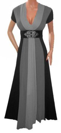 FUNFASH SLIMMING BLACK GRAY LONG RENAISSANCE MAXI COCKTAIL DRESS NEW Plus Size Made in USA --- http://www.pinterest.com.yolo.bz/2dz