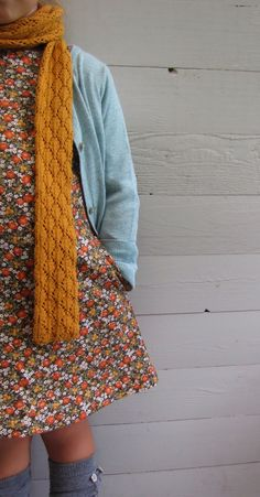 Mustard, blue, floral- pretty girl look for fall