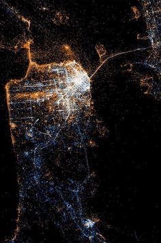 bay, night lights, sanfrancisco, map, artist