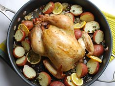 roast chicken with potatoes, lemons & capers