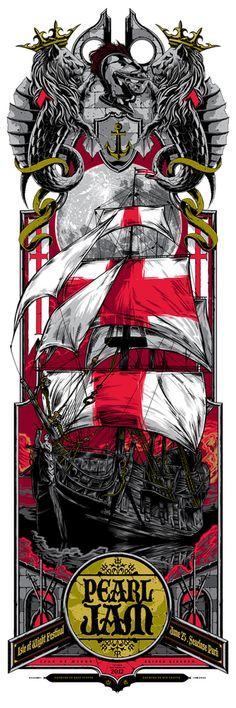 Studio Seppuku - The Art of Rhys Cooper — PEARL JAM - Isle of Wight - UK - collaboration gigposter