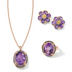 Regal amethyst takes center stage amid brown and white diamonds.#jewelry #amethyst #diamond #RossSimons  >> Shop these Styles at Ross-Simons