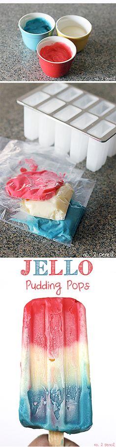 pudding pop, pud pop, frozen treats for summer, jello pud, food coloring