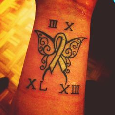 Memorial Tattoo. 3.10 on the top 40 - 13 on the bottom. My grandmother passed away on her birthday this year from lung cancer (white ribbon)