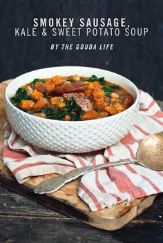 15 Minute Sensations: Smoked Sausage, Kale & Sweet Potato Soup by @The Gouda Life #SoSimple