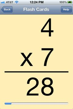 Multiplication flash cards for iPod.
