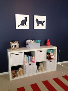 navy, coral, and white nursery with accent wall || by julie405 on Project Nursery