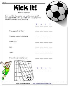 Check out this word puzzle from our Brain Teaser page at Super Teacher Worksheets.  They are fun and give kids an extra brain-charged challenge!