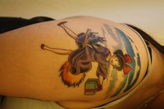 hayao-miyazaki:  Kiki's Delivery Service! It is being worked into a half sleeve with my Totorotattoo. Done by Betty Rose @ Red Rocket Tat...