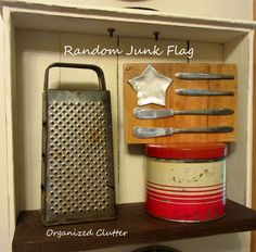 Make a flag out of JUNK:  Flattend out star tin plus knives.