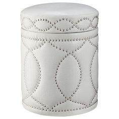Three Hands White Storage Ottoman with Nail Head Detail