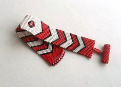 Chevron  Geometric Peyote Bracelet   BeadWoven  by GULDENTAKI, $32.00