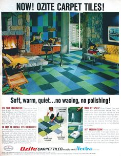 I'm Learning To Share!: 1968 print ad: Ozite Carpet Tiles