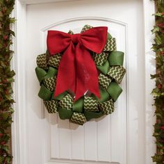 Burlap Chevron Ribbon Wreath, 22 in. | Kirklands
