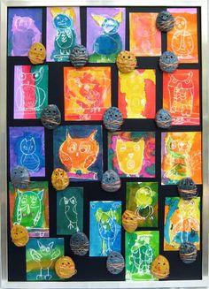 Owls crayon resist - Warm/cool colors, texture