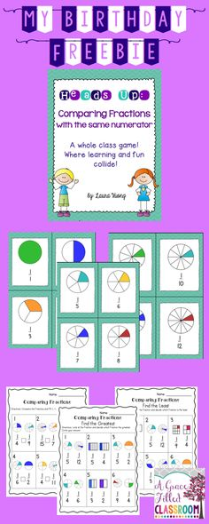 Make it a game and they'll have fun while learning. This is an engaging way for your 2nd and 3rd graders to compare fractions with 1 as the numerator!