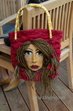 Wet felted bag Girl with wind in her hair. by JanaOndrejova